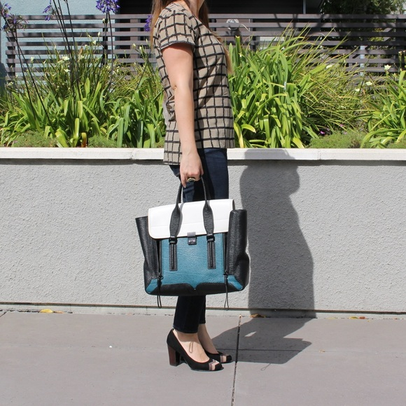 3.1 Phillip Lim Handbags - 3.1 Phillip Lim Pashli Teal Colorblock Bag